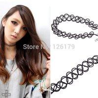 Fashion Vintage Stretch Black Elastic Tattoo Hippy Chick Henna Choker Necklace