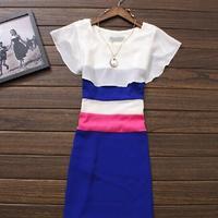 2014 new autumn casual European and American XXL small fresh striped Slim dress sleeveless shawl winter novelty dresses SY1274