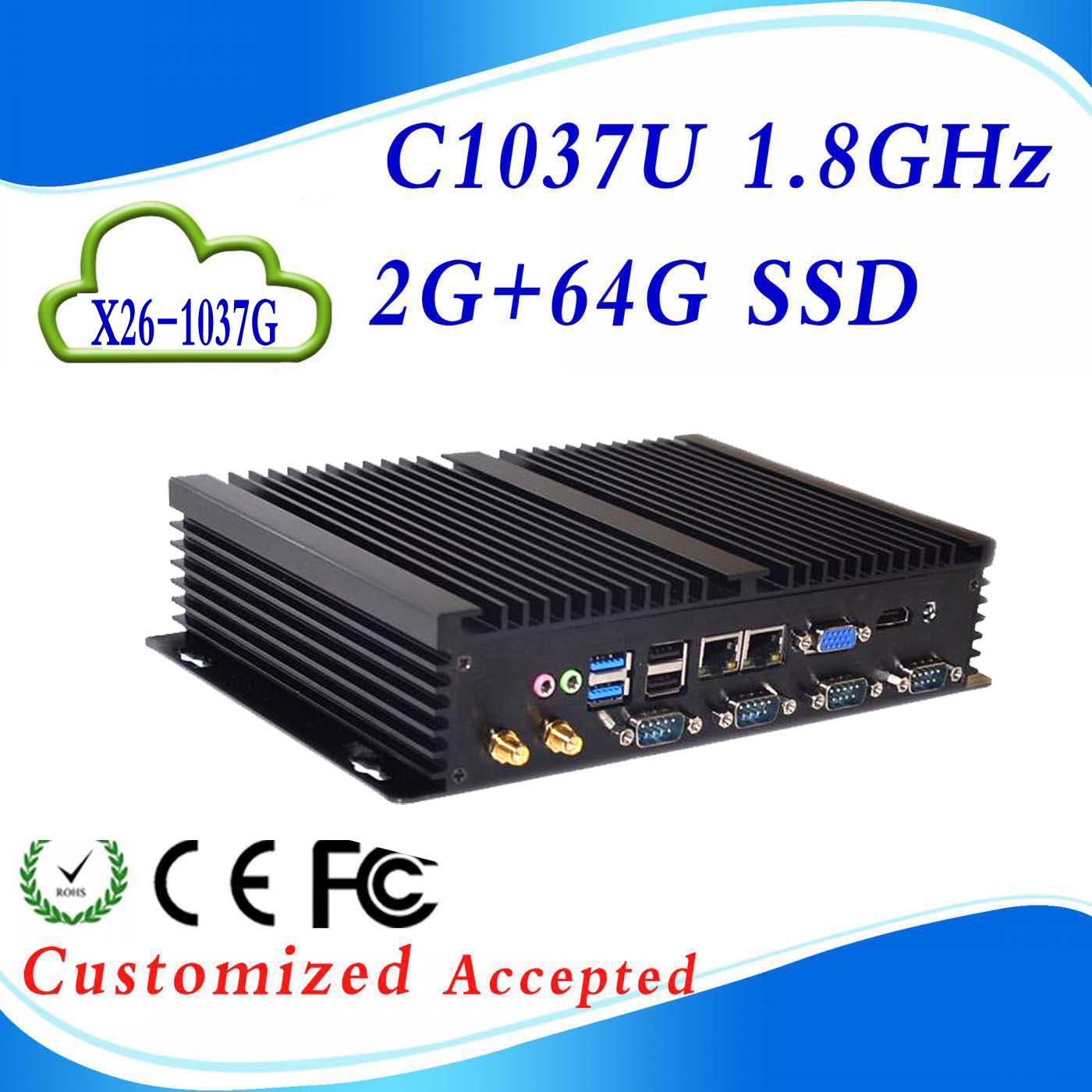 Support HDMI+VGA pc case fanless linux server mini computer X26-1037G C1037U 2G RAM 64G SSD High Performance(China (Mainland))