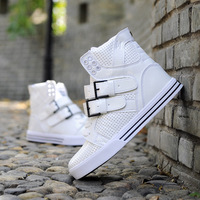 Men's high top fashion sneakers black white red hip hop break dancing ankle shoes