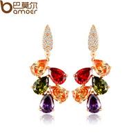 Stud earring colorful crystal earring national top trend inlaying zircon stud earring female