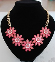 Min order is $10(mix order) 2014 new arrived Jewelry Fashion Women Flower Acrylic Statement Collar Pendants Choker women XL615