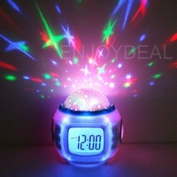 Music Starry Star Sky Projection Colorful Alarm Clock Calendar Thermometer