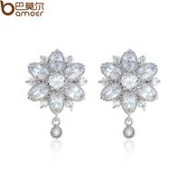 Dragon flower aaa zircon stud earring exquisite crystal earrings sweet fashion elegant