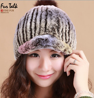 Women Winter Real Rabbit Fur Cap with fox fur ball