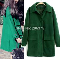 Free shipping 2014 New Winter green Woolen coat Large size female models Long sleeve thin woolen long coat S M L+Dropshipping