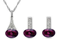 2015 New Fashion Hot Sale Platinum Plated Water Drop Necklace Earrings Jewelry Set High Quality Wedding Jewelry Set for Women