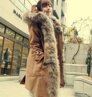 Luxury Faux fur lining women's fur Hoodies Ladies coats winter warm long coat jacket cotton clothes thermal parkas A001