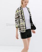 2014 Spring Summer Brand New designer Women Clothing irregular Plaid Kimono Jacket Suit Casual Cardigan Coats ,Free Shipping