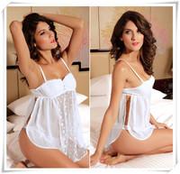 Hot!! 2014 White Cute Lace Sexy Lingerie Fantasia Erotil Pajamas Underwear Costumes Sleepwear Dress Set For Women