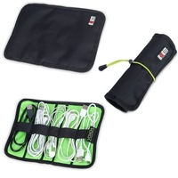 High Quality Cable Organizer Bag Case Roll Up with Rubber Band can put USB Cable Earphone Pen