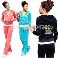 2014 New Spring&Autumn sports women hooded casual velvet Crown Pattern long sleeve women running sports clothing sportswear set