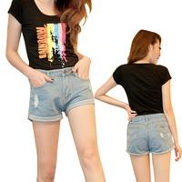 2014 women shorts jeans feminino summer denim shorts woman pants denim ladies shorts pantalones cortos high waist