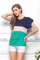 2014 Women summer dresses Blouses & Shirts ladies chiffon blouses Patchwork loose blouse