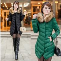Unique BY02 New 2014 Fashion Winter Jacket Women Parka Big Fur Long Thicker Slim Down Coat Female Cotton-Padded Jacket  XXXL