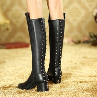 new 2014 winter designer genuine leather brand women's boots size 34-41 big yards heeled boots free shipping