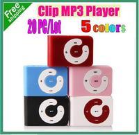 20pcs/Lot Mini C keys Card Clip MP3 in 5 Mixed Colors Support 2GB 4GB 8GB Micro TF Card Free Shipping