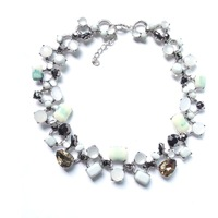 Noble Stylish Vintage Silver Links Dyed Resin Beads Choker Bib Necklace Bubble dream