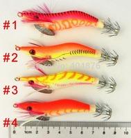 4pcs Fishing jig Lures SHRIMP lure Wood Shrimp noctilucent Squid Jig 8CM 7.4G 2.0# craw bait crawfish bait SJ003 free shipping