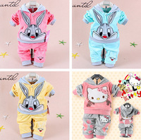 2014 Spring Baby Suits Girls Clothing Sets Cartoon Rabbit Velvet Twinset Long Sleeve Hoodie And Pant Children Clothing free Ship