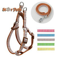 Brown Color Strip Print Nylon Dog Pet Harness & Walking Leash Set Variety of Colors S\M\L