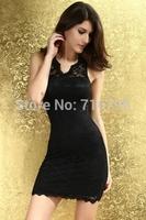 2014 Women Faith Scallop Lace Background  Black Dresses Mini Dress Evening Dress Sexy Party Dress , Free Shipping