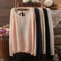 Hot sale NEW BRAND Sweater Women bowknot Large size Sweaters Loose long sleeves Knitted Cardigan with Sequined 6 Colours