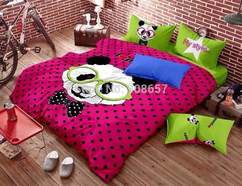 magenta green polka dot panda print bedding set cotton fabric full queen size quilt duvet cover for kids children home decor(China (Mainland))