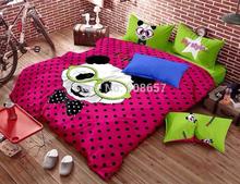 Magenta vert polka dot panda impression ensemble de literie tissu de coton pleine reine taille couette housse de couette pour enfants enfants home decor(China (Mainland))