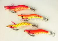 20pcs Fishing jig Lures SHRIMP lure Wood Shrimp noctilucent Squid Jig 8CM 7.4G 2.0# craw bait crawfish bait SJ003 free shipping