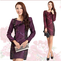 Hot Sale! New 2014 models fall fashion style exquisite beaded mesh printing splice Slim long-sleeved dress Free Shipping   q4592