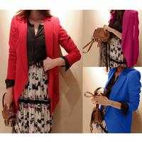 Elegant Long Blazers women casual lady blazer feminino 2014 new fashion Korean style chaquetas mujer blaser red/rose red /blue