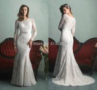 Best Seller Mermaid Scoop Lace Vestidos Income Vestidos De Novia New Arrival Fantastic Bridal Gowns Lace Modest Long Sleeve