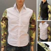 Men's Shirts Men's Camouflage Stitching Long Sleeve T-Shirt Size:M-XXL For Choose Free Shipping 1PCS