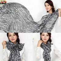 1pcs Fashion Trendy Long Zebra Printed Chiffon Scarf Women Girls Soft Smooth New Free Shipping