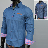 Men's Shirts Men's Denim Long Sleeve T-Shirt Size:M-XXL For Choose Free Shipping 1PCS