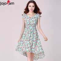 Plus Size Women's Summer Puff Sleeve V Neck Black Green Flower Print Short Front Long Back Pleated Chiffon Beach Dresses 2811