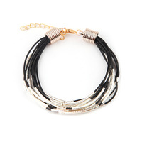 7.5'' Adjustable Shamballa Bracelets Bangles Link Chain Men Leather Sliver Plated Bracelet CA294