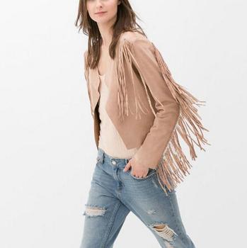 CT705 Ladies' Faux Замша Leather Fringe Jacket coat Длинный Рукав outwear кардиган ...