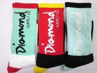 24pcs=12pair NEW assorted colors Cotton Diamond Thicken DGK Plantlife Skateboarding Street Wear outdoors Sport Socks 24pcs/lot