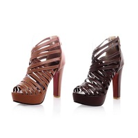 Gladiator Straps High Heels Cutouts Women Sandals 2014 Sexy Design Red Bottom Party Casual Summer Shoes A0328
