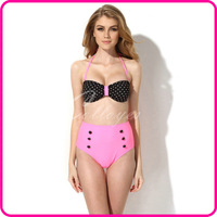 Colloyes 2014 New Sexy Polka Dot + Pink Bikini Set Swimwear Women Swimsuit with Bandeau Top and High-waist Bottom