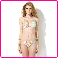 Colloyes 2014 New Sexy Floral Triangle Top with Classic Cut Bottom Bikini Set Bathing suit Swimwear Swimsuit