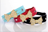 (30 pieces/lot) Fashion Leather Pet Collares for Dogs with Pretty Charms
