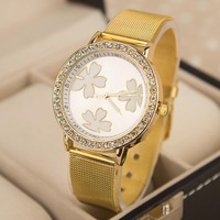New Fashion Women Dress Quartz watch ladies Gold Full Steel band wristwatches Rhinestone bracelet Casual Watch clock relogio