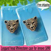 For lenovo S890 case,Bling Crystal rhinestones Colorful Leopard head Cover for lenovo S890, diamond case PC skin ,free shipping