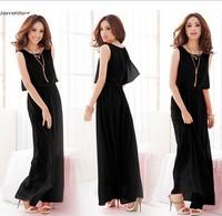 Plus Size S-XXXL, 6 Color, Elegant Sleeveless Chiffon Bohemian Beach Long Summer Dress Fashion Women 2014 Clothes
