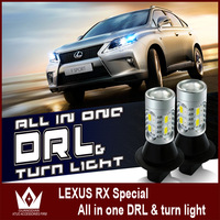 Free shipping 2x 10w LED Daytime Running Lights For Lexus RX 300 350 450 with turn signal all in one T20 7440 7443 12v DC