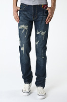 The spring of 2014 the new jeans han edition men's cultivate one's morality must be worn out small cat N808 straight jeans