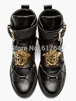 2014 Hot Men Fashion Brand Versa Gold Medusa Design Black Red White Available Sneakers